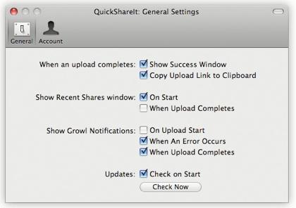 quickshare preferenze