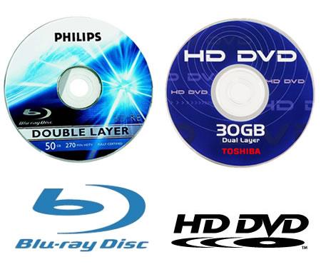 Blu-Ray disc e HD-DVD vicini