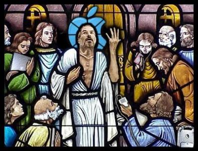 Una rappresentazione scherzosa di Steve Jobs nei panni di Gesù Cristo