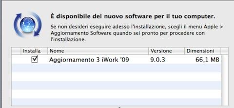 iwork aggiornamento
