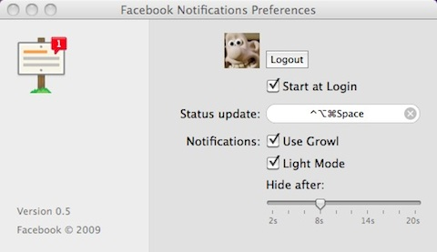 facebook notifications preferenze mac