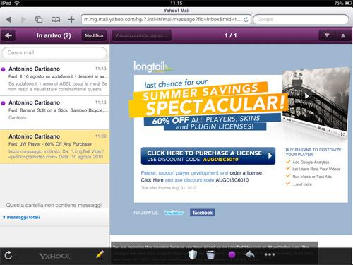 La nuova interfaccia di Yahoo! mail per ipad in Html5