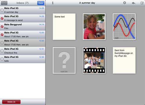 SwirlyMessage per iPad