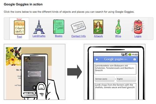 home page di google goggle