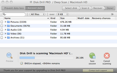 Disk Drill 1.1.84 Pro Recover files