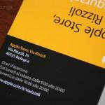 La brochure informativa dell'Apple Store Via Rizzoli Bologna