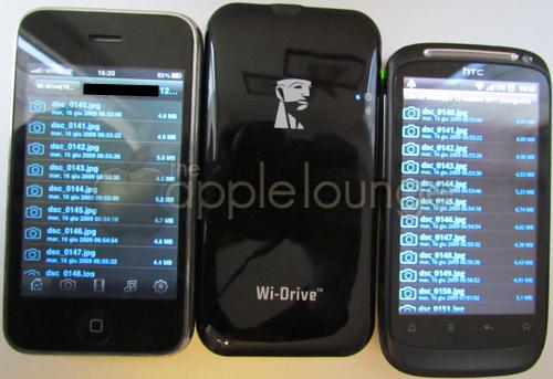 Kingston Wi-Drive con iPhone e HTC Desire S mentre è mostrato l'elenco dei file - The Apple Lounge
