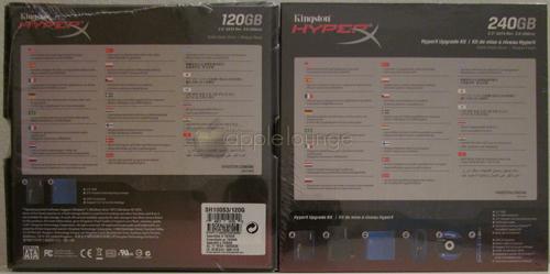 Kingston HyperX SSD 240 GB Upgrade Kit e Kingston HyperX SSD 120 GB, particolare del retro delle confezioni - The Apple Lounge