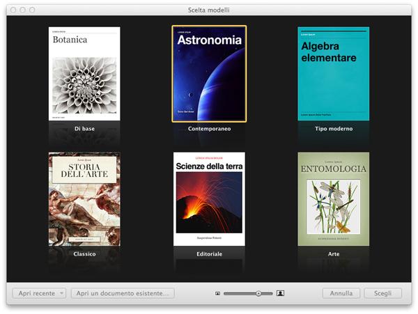 Scelta dei modeli di iBooks Author - TheAppleLounge.com