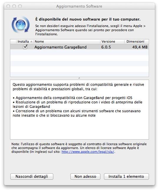 GarageBand 6.0.5, disponibile l'aggiornamento - TheAppleLounge.com