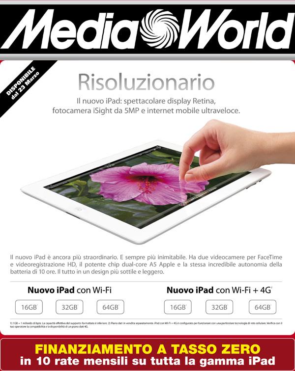 Da Mediaworld Il Nuovo Ipad  U00e8 A Tasso Zero