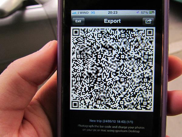 gps4cam, QR riassuntivo dei dati di localizzazione - TheAppleLounge.com