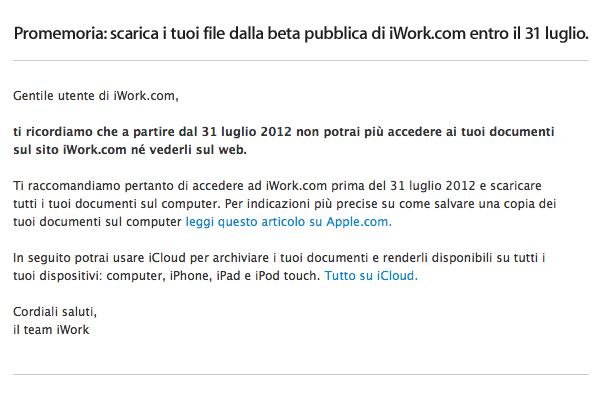 iWork.com beta chiude il 31 luglio 2012 - TheAppleLounge.com
