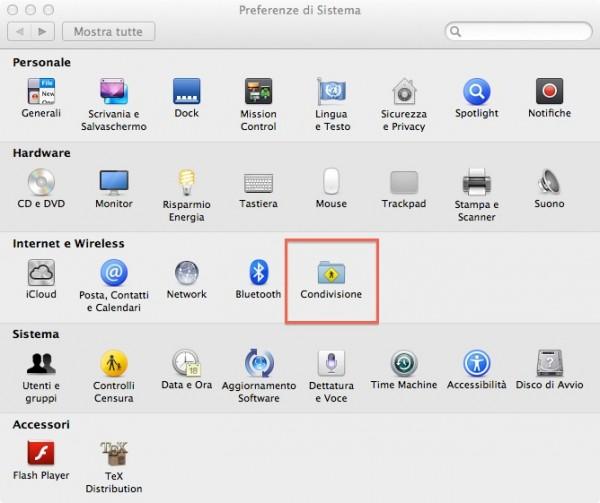 condivisione wireless hotspost mac