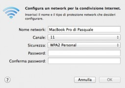 condivisione wireless hotspost mac