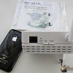 NETGEAR WN3000RP Universal WiFi Range Extender, particolare della parte laterale e raffronto dimensioni con un iPhone 3GS - TheAppleLounge.com