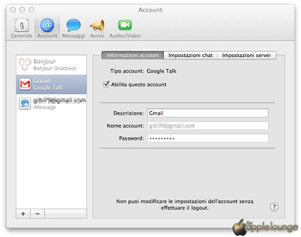 Guida per usate Google talk, aim, Yahoo Messenger e Jabber con Apple Messaggi 03 - TheAppleLounge.com