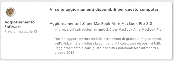 Aggiornamento MacBook Air e MacBook Pro