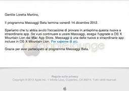 Messaggi Beta termina il 14 dicembre 2012 - TheAppleLounge.com