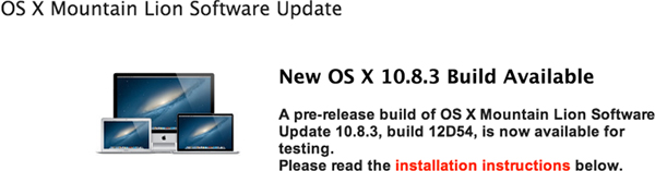OS X 10.8.3 build 12D54 rilasciata agli svilupatori - TheAppleLounge.com