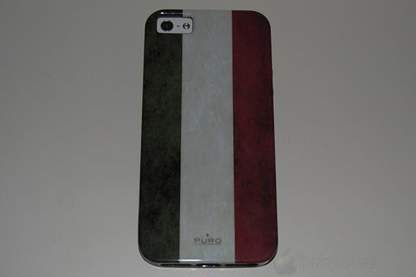 Puro Cover iPhone 5 Flag, immagine del prodotto col telefono inserito - TheAppleLounge.com