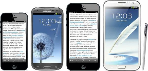 iPhone Plus a confronto con i giganti della concorrenza, fra Galaxy S III e Note