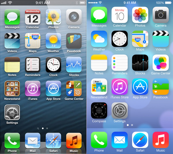 iOS 6 vs iOS 7: home screen a confronto