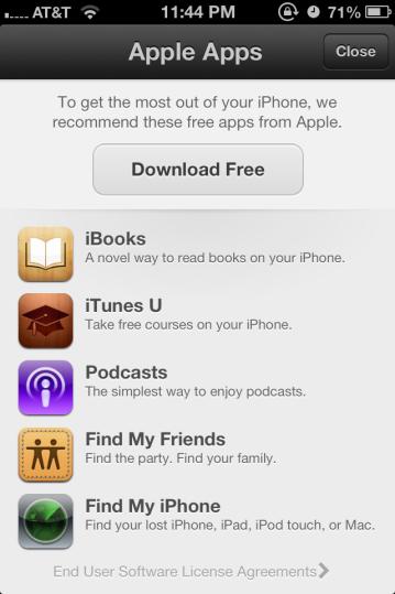 La schermata presente in iOS 6 per il download gratuito delle app di Apple.