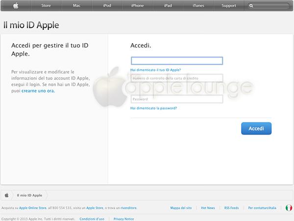 Finta pagina Apple Phishing - TheAppleLounge.com