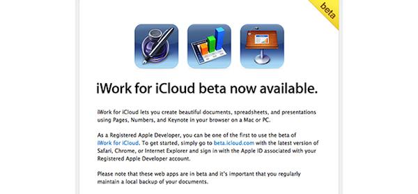 invito iWork iCloud beta