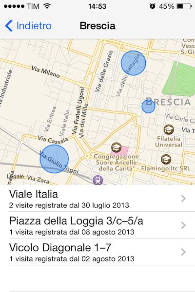 iOS 7: il GPS di iPhone traccia il telefono in ogni momento