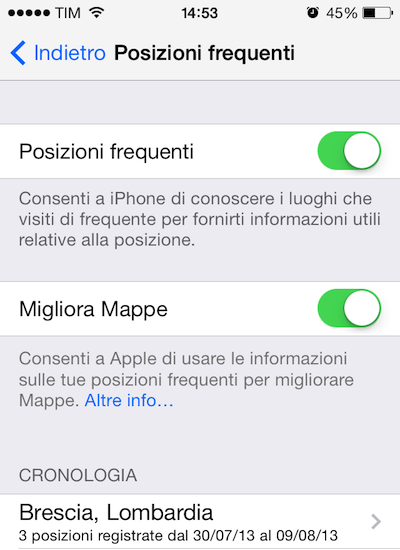 Posizioni Recenti iOS 7 Beta 4 2