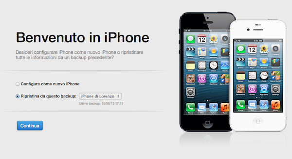 Rispristino iPhone da iTunes