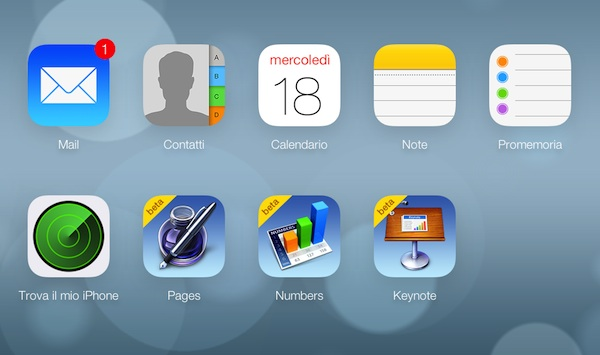 iCloud restyling grafico
