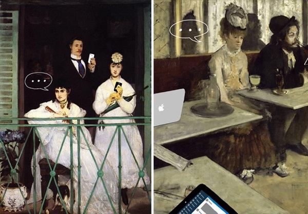 """""""Il balcone"""" di Manet e """"L'assenzio"""" di Degas diventano due pubblicità progresso contro l'alienazione da smartphone, detta anche smartphonite. Detta anche alienazione da batteria scarica."""