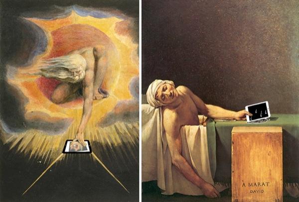 """[Sinistra] The Ancient of Days (1794), opera di William Blake. Blake aveva un approccio molto personale e controverso con la religione, il che lo portò ad immaginare che il Creatore si fosse servito di un dispositivo iOS durante la Genesi, in altre parole il primo giorno creò l'iPad, poi, grazie al multitouch, tutto il resto... [Destra] """"La morte di Marat"""", di Jacques-Louis David, un anno prima (1793), diventa: """"Non usare l'iPad nella vasca da bagno"""". Soprattutto se non hai sottoscritto l'Apple Care."""