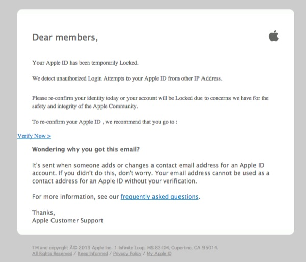 email truffa apple 600