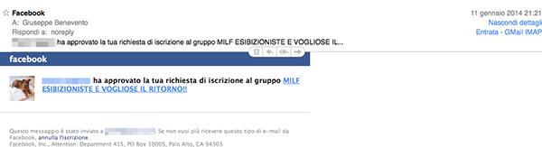 Qualcuno si è registrato a Facebook col mio indirizzo e-mail e... (una delle e-mail di rigestrazione ai gruppi che mi sono arrivate) - TheAppleLounge.com