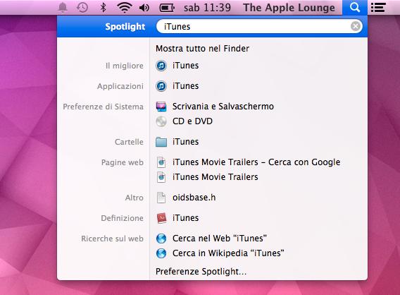 Spotlight Cerca iTunes