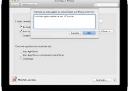 messaggio testo schermo blocco mac