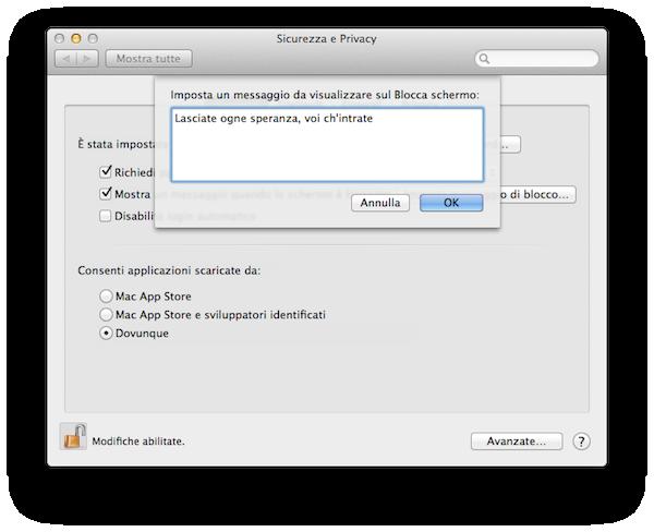 Mini-Tip: Aggiungere un messaggio di testo alla schermata di login di OS X