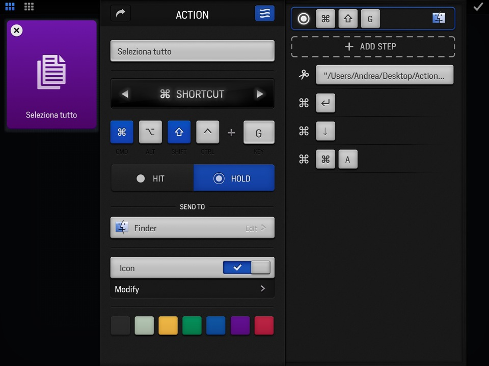 Actions per iPad recensione TAL workflow Mac_6