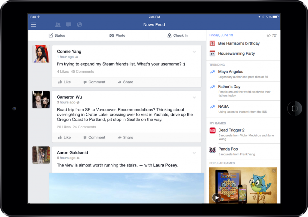 facebook ipad sidebar