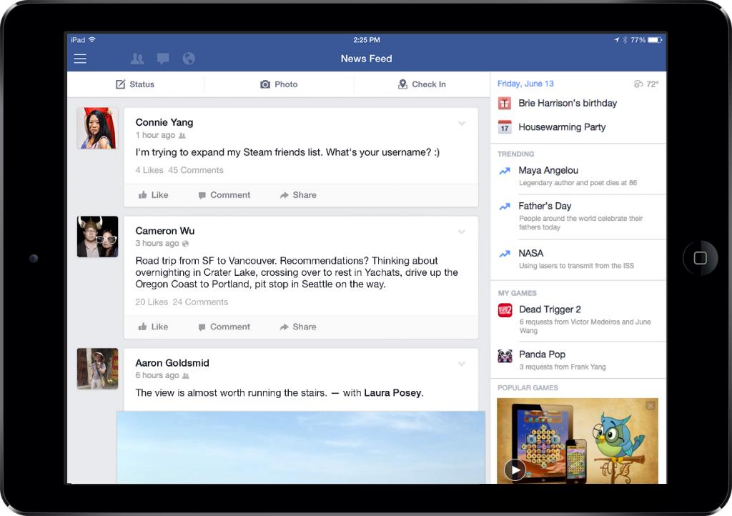 facebook ipad sidebar