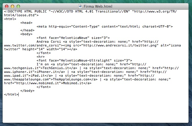 Guida firma HTML Mail iOS OS X senza allegati font TAL_5