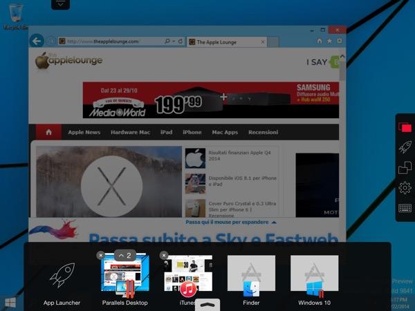 Parallels Desktop 10 Mac recensione TAL OS X Yosemite Windows 10_2