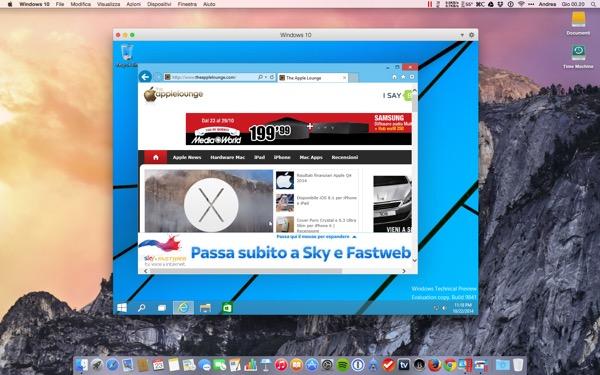 Parallels Desktop 10 Mac recensione TAL OS X Yosemite Windows 10_3