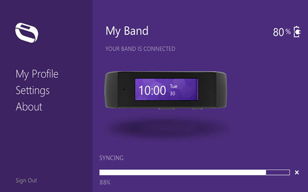 Immagine di Microsoft Band, dispositivo indossabile per il fitness.