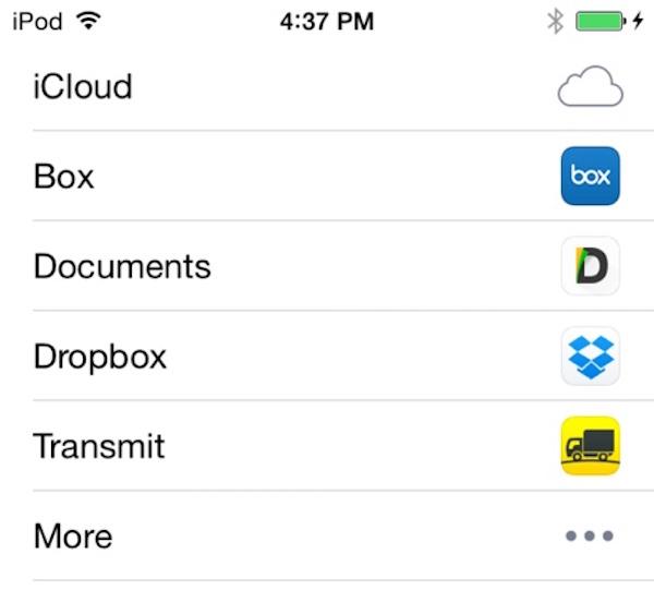 La lista dei servizi di condivisione imposta da Apple in iOS 8.