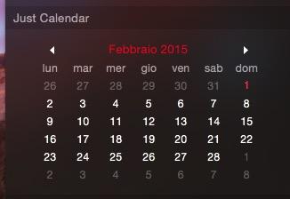 Just Calendar recensione TAL widget Centro Notifiche OS X Yosemite